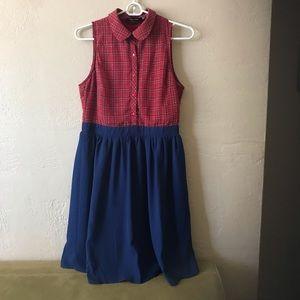 SUMMER DRESS red plaid with royal blue MEDIUM